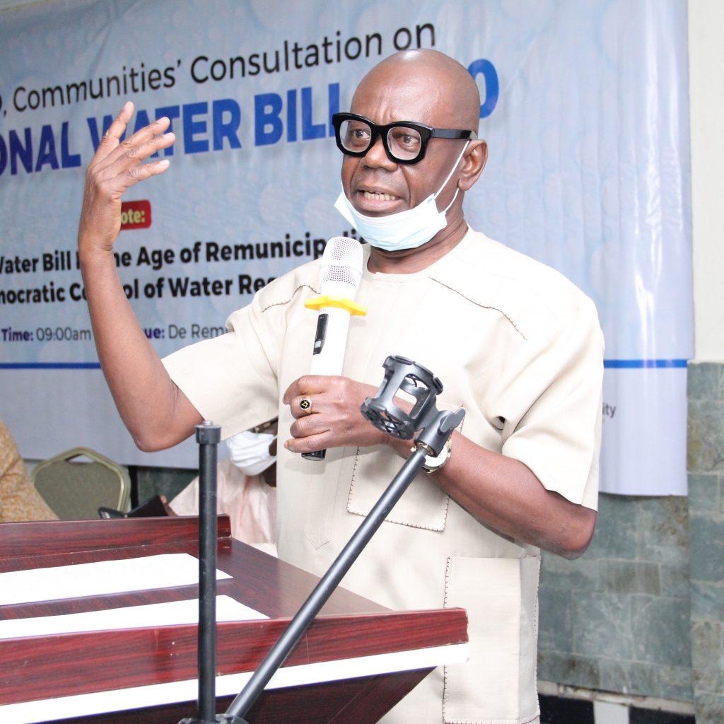 Prof Peterside Jacob Sofiri at the Labour, CSOs, Communities Consultation on National Water Resources Bill