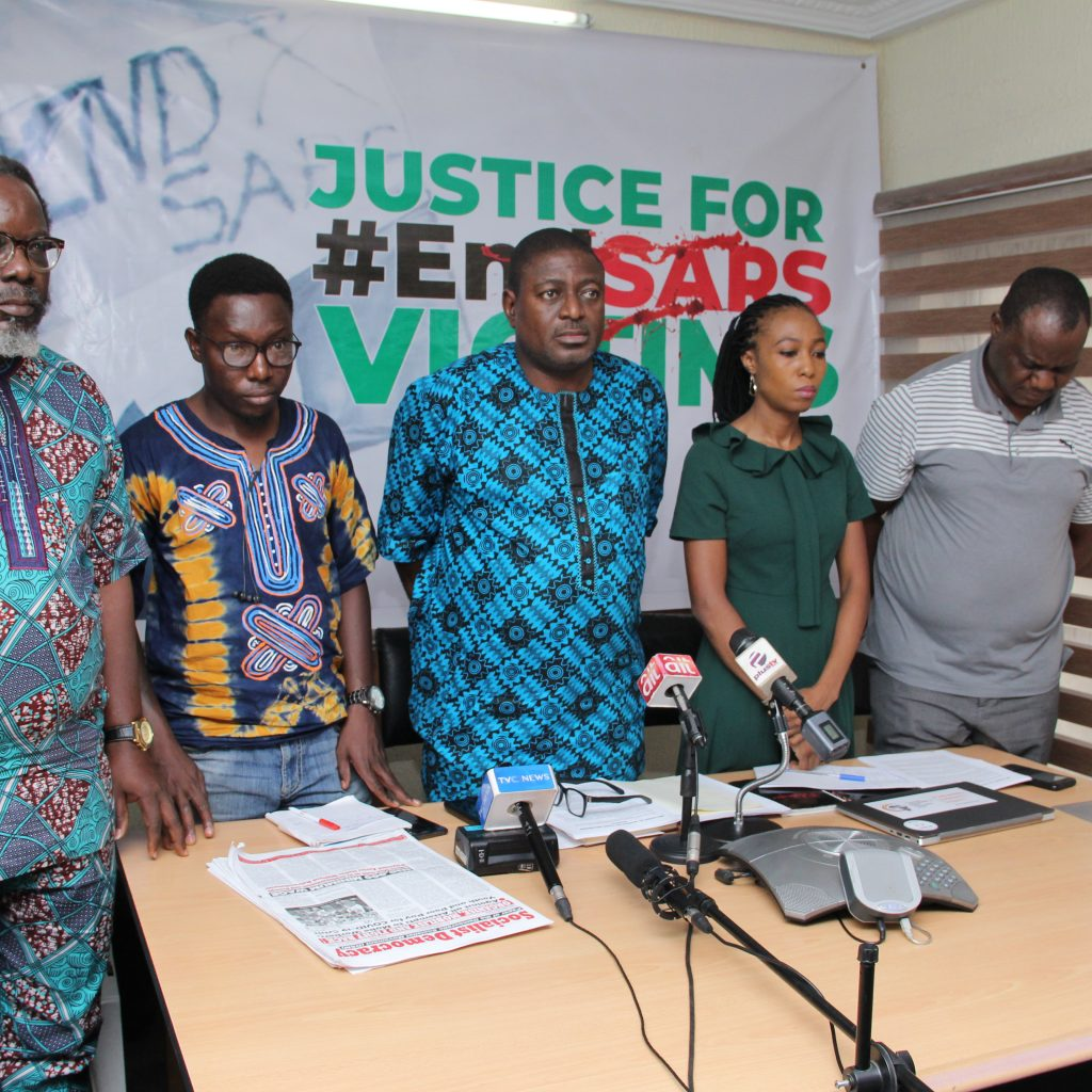 While briefing the Media on Justice for Lekki EndSARS Shooting Victims